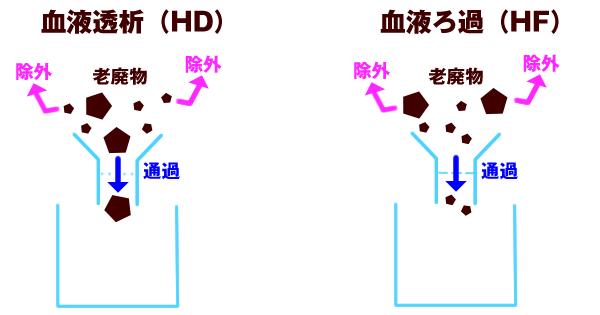 血液透析(HD)と血液ろ過(HF)の図1
