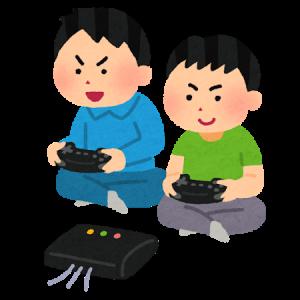 室内でゲームをする子供